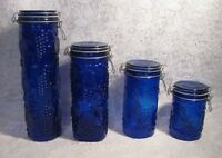 Cobalt Blue Glass Canisters Set of 4 Elements