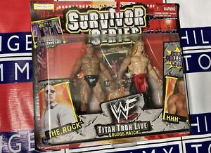 WWF Survivor Series The Rock Vs Triple H Titan Tron Live Grudge Match Figures