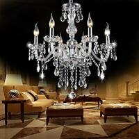 Crystal Chandelier 6 Arm Chrome Ceiling Lights Candle Pendant Lamp Decoration