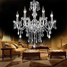 Crystal Chandelier 6 Arm Chrome Ceiling Lights Candle Pendant Lamp Decoration