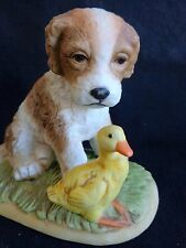 """Dog Figurine 3.5"""" Homco 1413 Puppy and Duckling Baby Duck"""