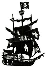 "Pirate Ship - Ghost Ship - Embroidered Iron On Applique Patch - 4 3/8""H"