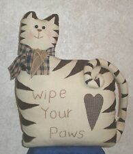 "CAT DOORSTOP PLUSH WIPE YOUR PAWS 13"" wide x 18"" tall COUNTRY CABIN HOME DECOR"