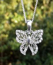 925 Silber Set Anhänger Schmetterling, Butterfly mit Zirkonia besetzt + Kette