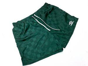 Men's Vintage 90's Umbro Nylon Drawstring Green Checkered Boxing Shorts - M
