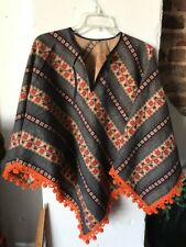 "Vintage 1970's Poncho Cape Boho Cute Ball Fringe Cotton 31"" Length"