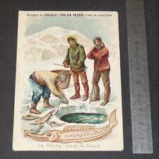 CHROMO 1912-1914 CHOCOLAT POULAIN A LA CONQUETE POLE SUD PECHE SOUS LA GLACE