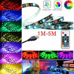LED Strip Lights USB 1M-5M RGB Color 5050 Light TV Bluetooth Control Lighting UK