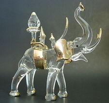 Cristal Grande Elefante Indio Asiático ceremonial animal adorno de oro figura Curio