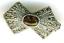 """925 Sterling Silver Marcasite & Smoky Quartz Small Bow Brooch / Pin  Width 1"""""""