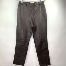 MARGARET GODFREY Women Brown Genuine  Leather Pants Size 12 Straight Leg Vintage