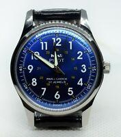 Vintage HMT Piilot Mechanical Hand winding 17J Blue Dial Men Wrist Watch A040