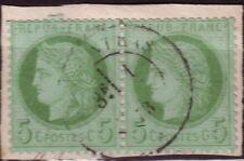 CERES - N°53 - 5c VERT EN PAIRE SUR FRAGMENT - OBLITERATION CACHET A DATE