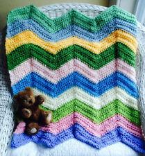 CROCHET handmade baby blanket afghan chevron ripple stroller preemie doll multi