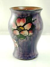 Torquay ware vase flower design on purple background 11cm tall