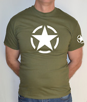 WILLIS JEEP STAR,AIRSOFT, US ARMY, MILITARY, COMBAT WITH SLEEVE LOGO T-SHIRT