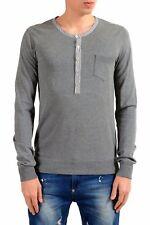 Dolce & Gabbana Gray Long Sleeve Men's Henley T-Shirt US S IT 48
