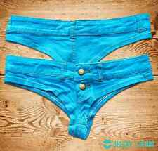 LARGE - Rave Low-Rise BRIGHT BLUE Denim Stretchy Jean Denim Booty Short Thong