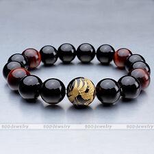 Black Agate Red Tiger Eye Gems Golden Dragon Ball Beads Bracelet Link Wrist Gift