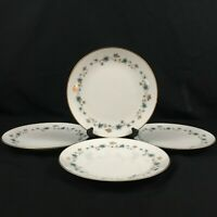 "Set of 4 VTG Salad Plates 8"" by Noritake Elmdale Blue Gold Leaves 6219 Japan"