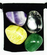 AURA HEALING & REPAIR Tumbled Crystal Healing Set = 4 Stones + Pouch + Card