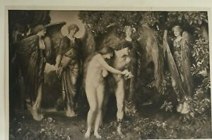 ANTIQUE PRINT DATED 1901 THE EXPULSION OF ADAM AND EVE A T NOWELL RELIGION ART
