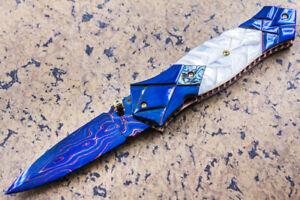 DC Custom Folding Knife Color Damascus White Pearl Anodized Titanium Topaz Stud