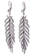 Swarovski Elements Crystal Leaf Feather Pierced Earrings Rhodium Plated 7133z