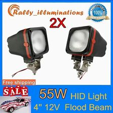 Pair 4inch 55W HID XENON LIGHT TRUCK JEEP OFFROAD 4WD 12V FLOOD SQUARE 35W RALLY