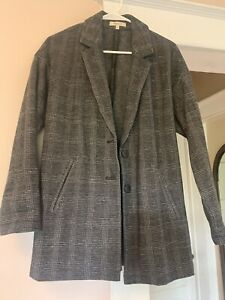 Madewell Oversized Knit Blazer Glen Plaid Size S Gray Pockets Two Button