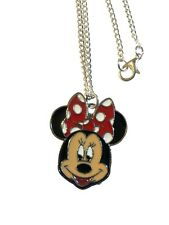 """Minnie Mouse 1.25 Inch Charm Necklace 16"""" Silver Plated, Gift Boxed,USA"""