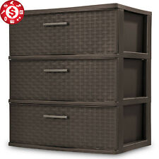 3 Drawer Wide Storage Cabinet Large Plastic Chest  Box Bin Home Office Organizer