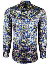 MENS PAISLEY SHINY SILK FEEL SHIRT FOR DRESS WEDDING FORMAL CASUAL £18.99(427)