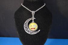 EMOJI Cabochon Crescent PENDANT -  NECKLACE  New! Jewelry USA SELLER tongue wink