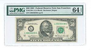 US $50 1981 FRN Fr-2120-LA San Francisco PMG64 Uncirculated EPQ