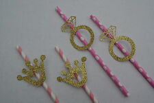 Glittery Gold Ring and Crown Straws-  Hen Party Paper Straws Wedding Table Decor