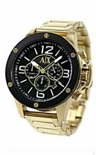 Armani Exchange Gold Stainless Steel Black Dial Chronograph 48MM AX1511 NWT$240
