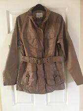 M&S Indigo Brown Tan Coffee Coat Jacket Faux Leather Size 10