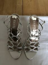 Ravel Women Silver Faux Leather Slingback Peep Toe High Heels Size 36 EU NICE