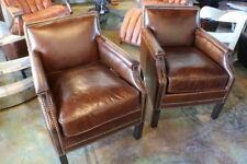 "24"" W Club arm chair Brazilian vintage brown cigar leather spectacular quality"