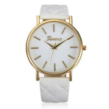 UK Seller Cool Gift Womens WHITE & Gold Quartz Dress Watch Quilted Strap