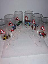 Set of 6 Vintage/Retro Road Sign Cartoon Stemmed Glasses