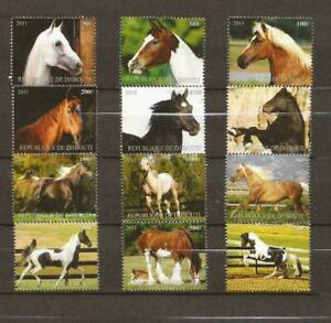 Horses _ Set of 12 Stamps _  MNH