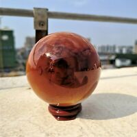 518g Natural Carnelian Palm Stone Red Agate Sphere Ball Polished Quartz Crystal