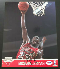 1990 Hoops Michael Jordan signed auto PSA DNA Action Glossy 8x10 photo card