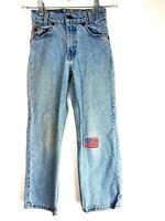 VTG Levi's Youth 550 Light Wash Denim Patch Orange Tab Slim Jeans Sz 8