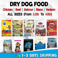 Dog Food Dry Dogs Treats Pet Adult Breeds lot Beef Chicken Rice Salmon All Sizes