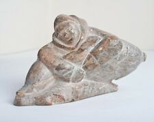 Inuit Eskimo Art Soapstone Carving Sculpture Hunter with Seal Signed LEW EJ
