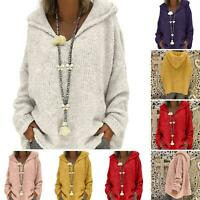 Women Knitted Sweatshirt Hoodie Sweater Hooded Pullover Loose Top Winter Autumn