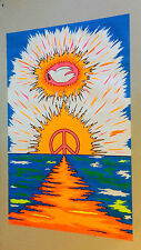 Vintage Black Light Poster Peaceful Dawning Psychedelic Scheinman Dove Peace